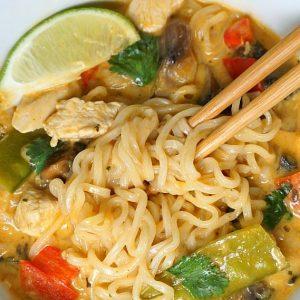 Instant Pot Thai Red Curry Chicken Ramen Noodle Soup