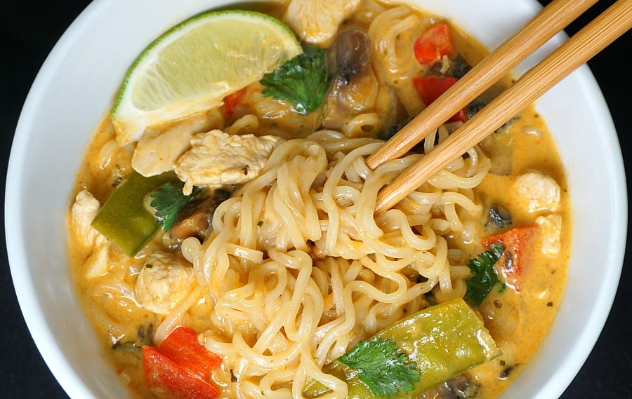 Thai Red Curry Chicken Ramen Soup