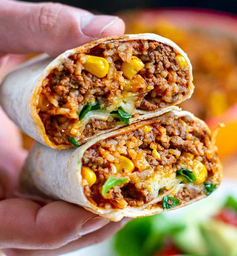 Instant Pot Burritos with Beef and Rice